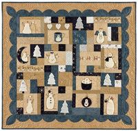 Nähanleitung *Postcard Cuties for Winter* Bunny Hill Design Schneemann 38 Inch x 36 Inch Quilt BHD1029