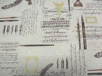 Leinenstoff Patchwork Quilt Stoff Japan Kaligrafie mit rostfarbenen Federn auf beige