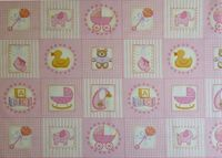 Patchworkstoff Stoff Quilt Baby Labels pink rosa Quadrate