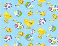 Patchworkstoff Baumwollstoff Quilt Ostern Eier Küken gelb hellblau  DT21-0001