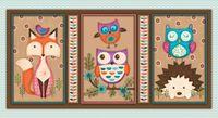 Patchworkstoff Stoff Quilt `Woodland Critters`Panel mit Eule, Fuchs, Igel