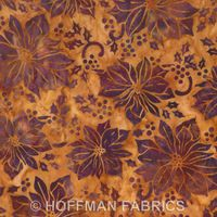 Patchworkstoff Bali Batiks, lila/braune Weihnachtssterne auf orange