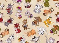 Patchworkstoff Loralie Designs Harris  Spice Cats Multi Katzen auf beige ecru