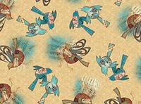 Patchworkstoff Stoff Quilt Musikvögel auf beige