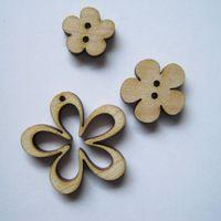 Knopf, Holzknopf Set - Blumen hell 3 Stück