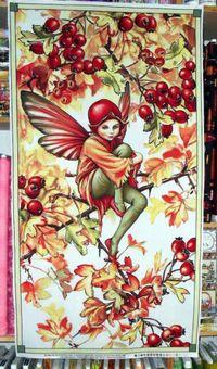 Patchworkstoff Elfe, Flower Fairy Panel Hawthorn, Herbst; 60x112cm