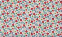 Patchworkstoff Stoff Quilt Space Starburst bunte abstrakte Kreise auf beige