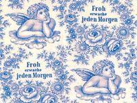 Patchworkstoff Westfalen `Froh erwache` Engel blau-weiss 150cm