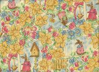 Patchworkstoff Ostern Frühling Hasen Szene auf pastell, 30x110cm