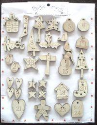 Adventskalender `Freude im Advent` 24 Zahlen aus Holz natur