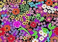 Patchworkstoff Stoff Quilt bunte Blumen auf schwarz