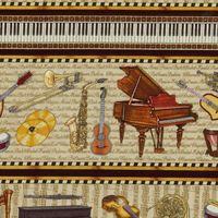 Patchwork Musikinstrumente Dan Morris als Streifen Border 30cm x 110cm