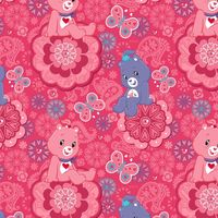 Patchworkstoff Quilt Stoff Care Bears lila pink auf rosa