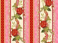 Patchworkstoff Stoff Quilt Rosen-Bordüre mit Streifen