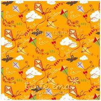 Patchworkstoff Stoff Quilt Serie SWINGING LEAVES Drachenkanon orange 140cm