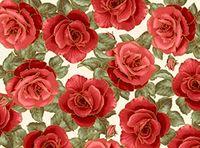 Patchworkstoff Stoff Quilt Rote Rosen mit Glitter auf Beige