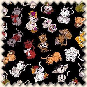 Patchworkstoff Loralie Harris Spice Cats Multi Katzen auf schwarz