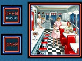 Patchworkstoff Stoff Quilt Panel Diner Open 24 Hours Restaurant 60x110cm