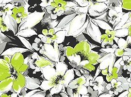 Patchworkstoff Fantasia Blumen gross grün schwarz weiss grau mix
