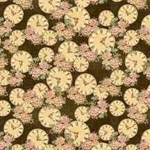 Patchworkstoff Quilt Stoff A Ladies' Diary Vintage Rosen und Uhren