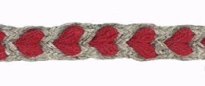 Leinen / Baumwolle Dekoband mit roten Herzen ca. 5 mm breit