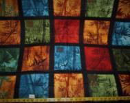 Patchworkstoff Quilt Stoff Panel mit 15 Motiven mit Blättern 90x110