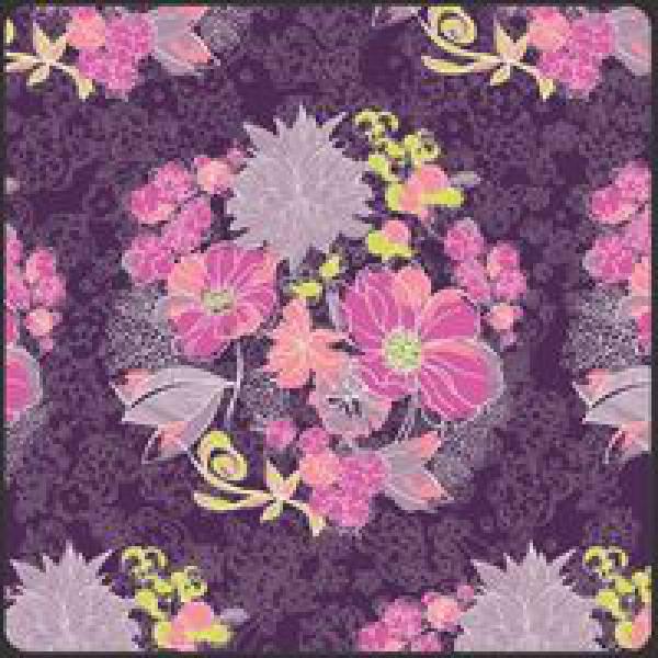 Patchworkstoff Stoff Quilt Poetica Style Serenade Moon Light Blumen auf lila