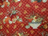 Patchworkstoff Quilt Stoff orange kariert mit Gemüse