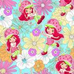 Patchworkstoff Quilt Stoff Emily Erdbeer Strawberry Shortcake mit Blumen