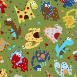 Patchworkstoff Quilt Stoff Dino Land Dinos auf grün