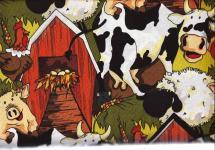 Patchworkstoff Quilt Stoff Funny Farm Bauernhof Tiere