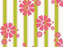 Patchworkstoff Quilt Stoff In The Meadow pink Blumen auf grünen Streifen