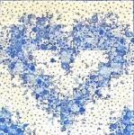 Materialpackung Watercolor Herz blau weiss