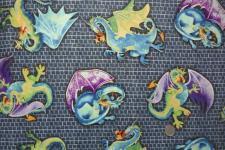 Patchworkstoff Merlins Dragons Drachen Stoff Quilt