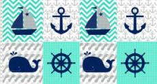 Patchworkstoff Nautical Treasure Panel 60cm breit
