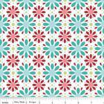 Patchworkstoff Quilt Stoff Apple of my Eye Blumen türkis rot weiss