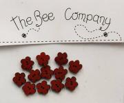 Knopf, Holzknopf  TF3 -  12 kleine Blumen burgundy