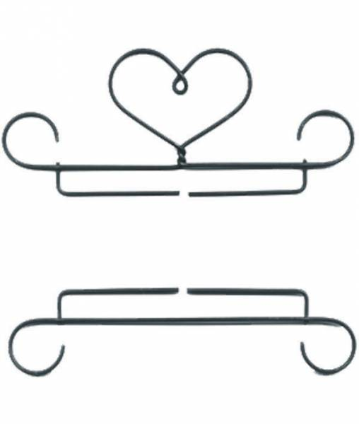 Dekobügel, Quilt Hänger Metall 2-teilig Curls Herz mit Schnörkel 15,24 cm / 6 Inch