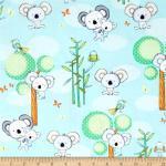 Patchworkstoff Quilt Stoff Koala Party Studio E Fabrics Beistoff hellblau