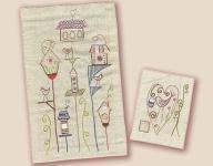 Stickbild Nr.430 Dans ma rue-N°3 Vogelhäuser und ein Herz