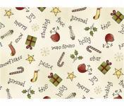 Patchworkstoff Weihnachten Schrift und Dekoration auf creme