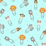Kinderstoff Patchworkstoff *Bungle Jungle* Dschungel Löwe Elefant Zebra Affe Sicherheitsnadeln mint orange grau HH 1241-16