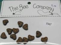 Knopf, Holzknopf  TM8 -  12 kleine Herzen rosa