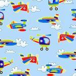 Patchworkstoff Quilt Stoff Kinder Air Show Flugzeug Hubschrauber Beistoff