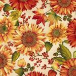 Patchworkstoff Quilt Stoff Autumn Herbst Sonnenblumen