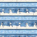 Patchworkstoff Stoff Serie *Welcome Winter* Schneemann blau weiss Streifen