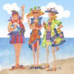Patchwork Stoff Quilt Art Panel Beach Stranddamen Badedamen