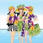 Patchwork Stoff Quilt Art Panel Beach Girls Badadamen