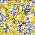 Patchworkstoff Quilt Stoff Fee, Elfe, Magic Garden Fairy Blumen Glitzer gelb Sunkist