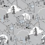 Patchworkstoff Quilt Stoff Light Grey Disney Pooh Cloud & Kites